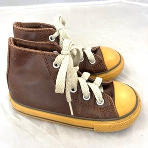 Converse Leather High Tops Brown Boys 7